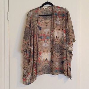 Patterned Kimono/Cover-up with Pom sleeves